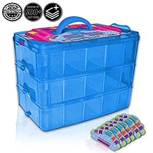 Holds 600 - Toy Box Shopkins Storage Case Organizer Container - Stackable Collectors Carrying Tote - Compatible With Happy Places Mini Toys Fash'ems Tsum Tsum Lego Hot Wheels (Blue)