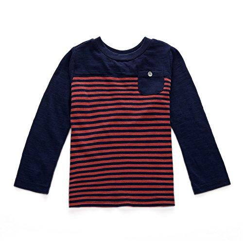 Snow Crewneck Top - SNOW DREAMS Kids Unisex Long Sleeve T-Shirts Cotton Striped Crew Neck Tops Tees Navy Size 3T