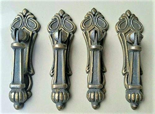 4 antique style vertical brass ornate pendant drop pull handles 3 1/4
