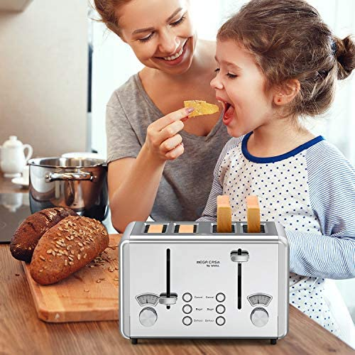 4 Slice Toaster, whall Stainless Steel,Bagel Toaster - 6 Bread Shade Settings,Bagel/Defrost Cancel Function with Dual Control Panels,4 Extra Wide Slots,Removable Crumb Tray,for Various Bread Types 1500W/Silver