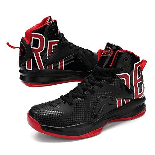 Gomnear Uomo Scarpe Da Basket Traspirante Sneaker Leggero Outdoor Scarpe Da Ginnastica Stivali Da Corsa Scarpe Sportive Nere Rosso