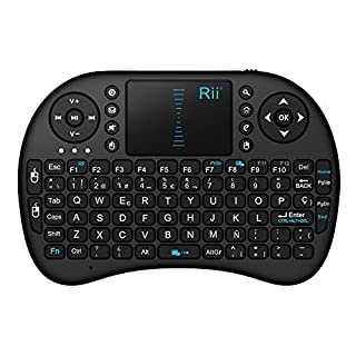 Rii Mini i8 Wireless (layout Español) - Mini teclado ergonómico con ratón touchpad para Smart TV, Mini PC Android, PlayStation, Xbox, HTPC, PC, Raspberry Pi