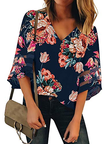 LookbookStore Women's V Neck Floral Printed Mesh Patchwork Blouse 3/4 Bell Sleeve Loose Summer Top Shirt Navy Blue Size Small -