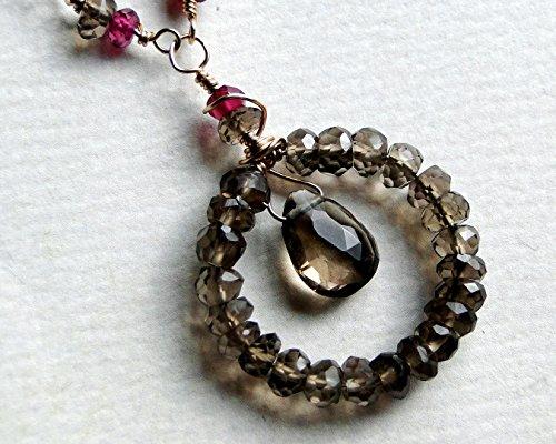 (Smoky Quartz Necklace, Rhodolite Garnet Necklace, 14k Gold Fill - Madeleine)