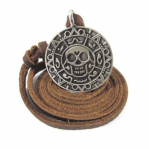Brown Leather and Skull Pendant Adiustable Necklace Mens Necklace Unisex Necklace Cool Necklace B102 (Skull Leather Pendant)