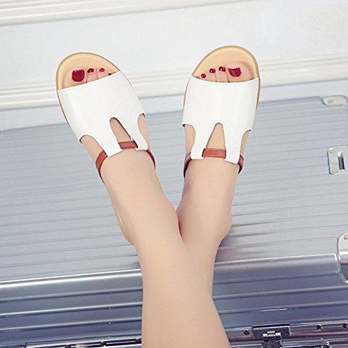 Cybling Womens Lage Sleehakken Glijden Sandalen Mode Zachte Zool Comfort Slipper Schoenen Wit