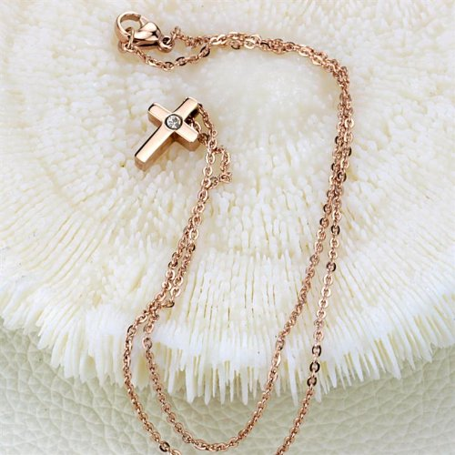 3Aries Rose Gold Plated Small Titanium Stainless Steel Cz Rhinestone Simple Glossy Cross Pendant Women/Men Necklace