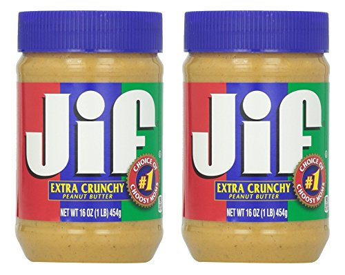 Jif Peanut Butter - Extra Crunchy - Non GMO - Gluten Free - Net Wt. 16 OZ (454 g) Each - Pack of - Usa Coupon Glasses
