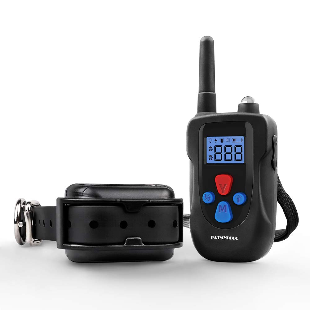 PATMYDOGO Dog Training Collar Rechargeable 1500ft and IP67 Waterproof Remote Shock Collar with Beep, Vibration, Electric Shock Collar Fit for Small/Medium/Large Dog
