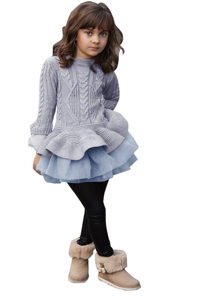 Syktkmx Girls Peplum Sweater Dress Top Flared Tulle Ruffle Hem Long Sleeve Cable Knit False Two Piece