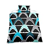 Very Soft Fabric Kid's Quilt Duvet Cover Set Shark Design Bedding Sets Include Duvet Cover Pillowcases in Single Queen King Size,Perfet for Children's Bedroom