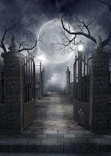 Fanghui Halloween Theme Photography Background Spooky Halloween Dark Horror Moon and Dead Trees Party Decoration Photo Studio Props Backdrops Booth Vinyl 5x7 ft