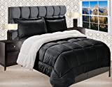 Elegant Comfort  Premium Quality Heavy Weight Micromink Sherpa-Backing Reversible Down Alternative Micro-Suede 2-Piece Comforter Set, Twin, Black