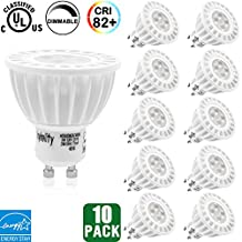 10-PackHykolity LED Bulbs 6W MR16 GU10 , 50W Halogen Bulbs Equivalent, 380 lumen, 3000K Warm White, Dimmable, LED Spotlight Bulb for Track Light, 36° Beam Angle, UL-listed and ENERGY STAR Qualified