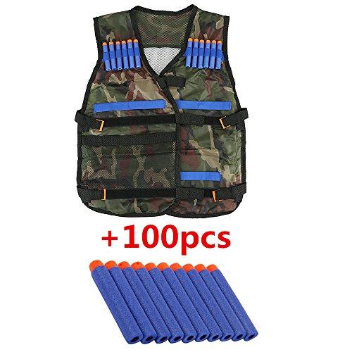 Top Home Dec Kids N-Strike Elite Camouflage Tactical Vest Kit Adjustable with Storage Pockets + 100 Pcs Refill Gun Bullet