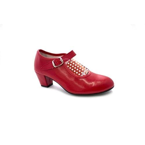 MADE IN SPAIN Zapato Baile sevillanas Flamenco Para Niña o Mujer Danka EN Rojo T1554 Talla 31 RW3qG0V7