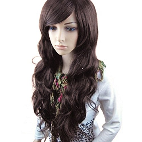 MelodySusie Dark Brown Long Curly Wave Wig for Women- 34 Inches Synthetic Hair Replacement Wigs with Bangs Natural As Real Hair Cosplay Daily Party Costume Wig with Free Wig Cap(Dark -