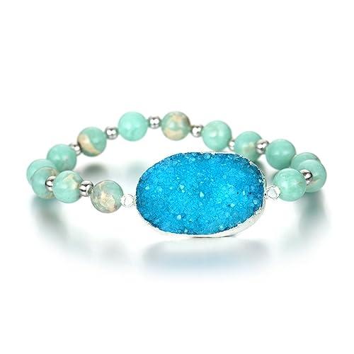 550b276c545c0 Amazon.com: ShinyJewelry Natural Druzy Agate Stretch Bracelet ...