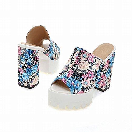 YE Damen Peep Toe Pantoletten Blockabsatz Slingback High Heels Plateau mit Blumen Bequem Schuhe Blau