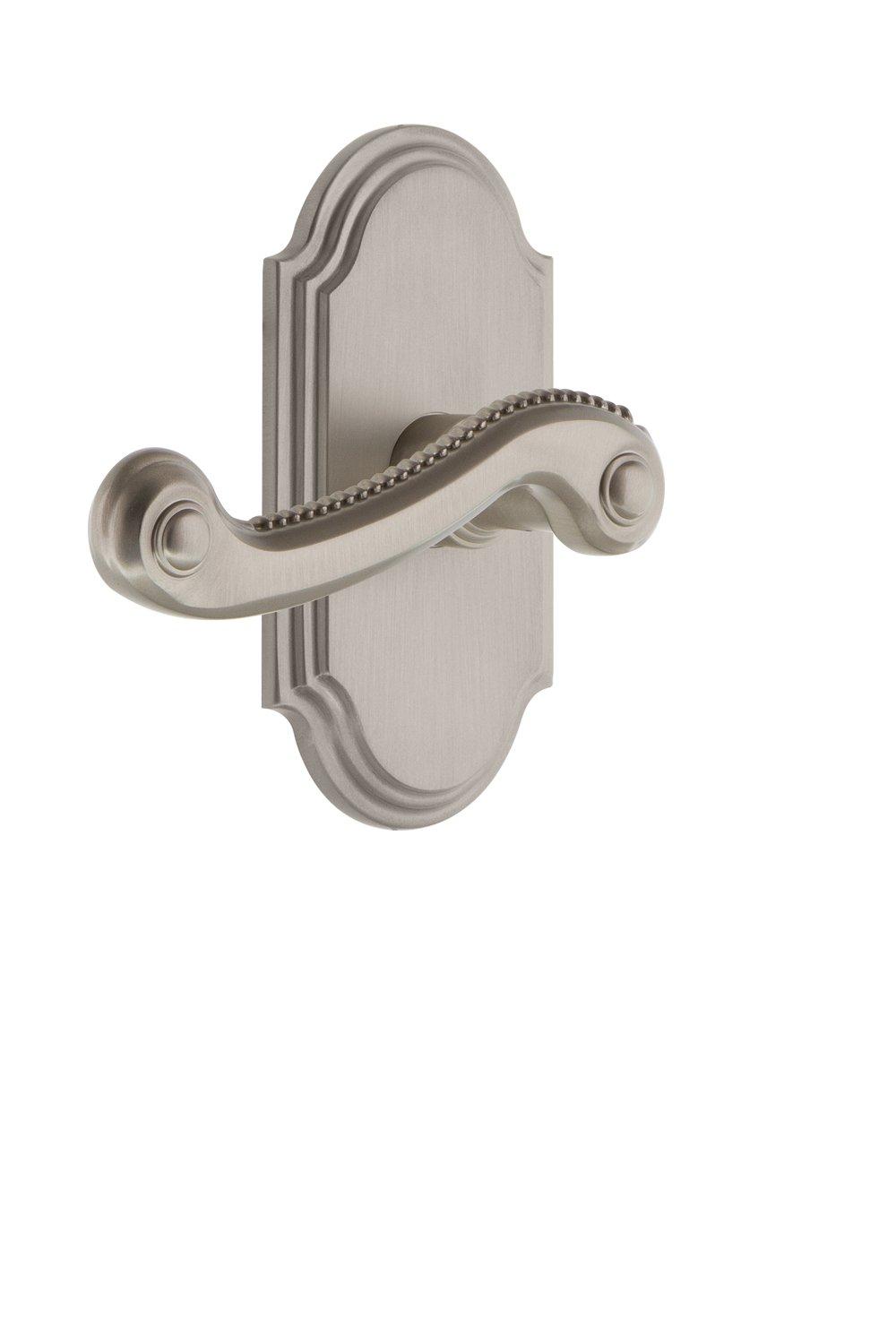 Grandeur 822497 Arc Plate Privacy with Newport Lever in Satin Nickel 2.75