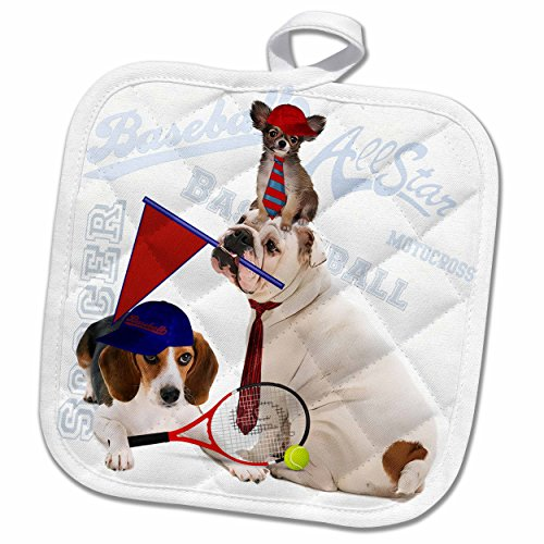 3D Rose Bulldog-Papillon and Beagle Theme-Great for Any Dog Lover Who Is a Sports Or Tennis Fan Pot Holder, 8 x (Dog Lovers Pot Holder)
