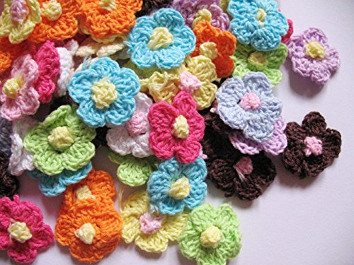YYCRAFT Pack Of 100 Crochet 1quot Spring Flower