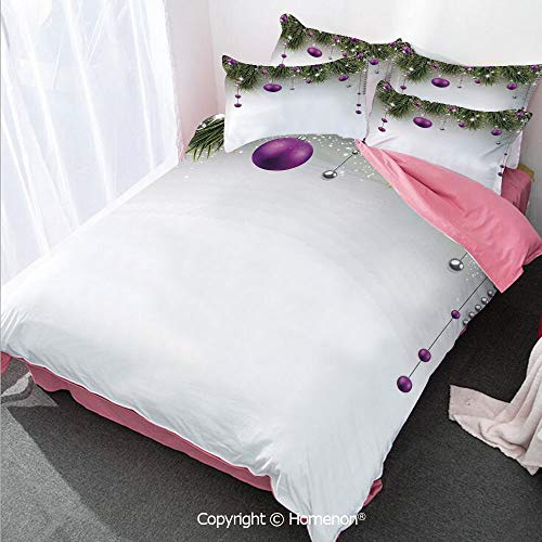 Homenon Christmas Decorations Girl's Room Duvet Cover Set Twin Size,Tree Decorations Tinsel and Ball with Gift Wrap Ribbon Pictu,Decorative 3 Piece Bedding Set with 2 Pillow Shams Purple Grey Green (Gift Twin Quilt Wrap)