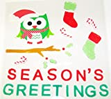 Christmas Reusable Gel Window Clings ~ Owl in Branch with Season's Greetings, Stockings, Candycanes (32 Clings, 1 Sheet)