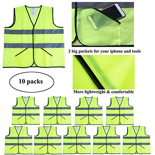 CIMC Yellow Reflective Safety Vest with Pockets, 10 Pack, Bright Construction Vest with Reflective Strips,Made from Breathable and Neon Yellow Mesh Fabric,High Visibility Vest for Working Outdoor by CIMC SAFETY (Image #1)
