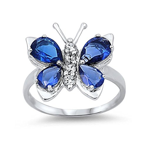 Blue Sapphire Butterfly Ring - Glitzs Jewels Sterling Silver Simulated Blue Sapphire Butterfly Ring, 7mm Choose Your Color