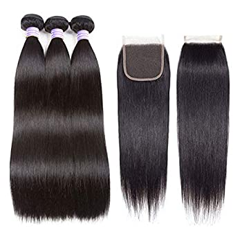 AMZTMY Brazilian Straight Virgin Hair 3 Bundles With Free Part Closure 100% Unprocessed Hair Extensions Remy Human Hair Weft Weave With 4×4 Lace Closure Natural Color (22 24 26+20 inch) Health and Household