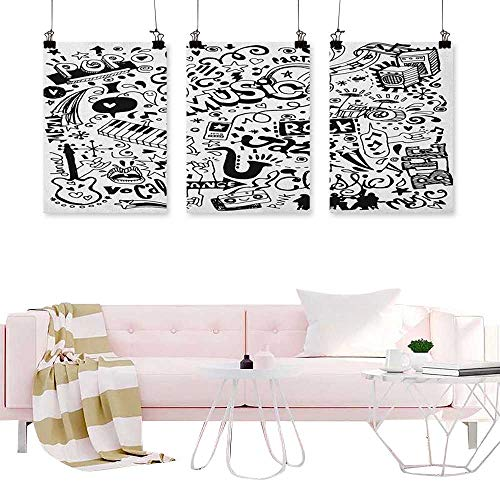 (J Chief Sky Doodle,Triptych Wall Art Music Collection with an Abstract Drawing Rock Jazz Blues Genre Classic Dancing Wall Art Oil Paintings W16 x L24)