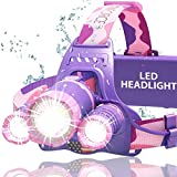 DanForce Headlamp, Ultra Bright Rechargeable LED Headlamp,CREE 1080 Lumens,Zoomable Head Lamp Flashlight. Headlight USB Rechargeable, IPX45 HeadLamps for Camping, Outdoors,Red Light Include (Orion)