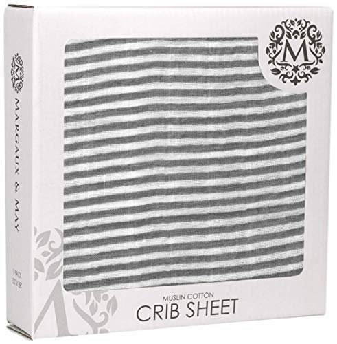 Premium Fitted Muslin Crib Sheets by Margaux & May - Stripes - Ultra Breathable and Soft Muslin Cotton - Great Unisex Gift for Baby Shower - Fits Standard Crib Mattresses for Babies and Toddlers
