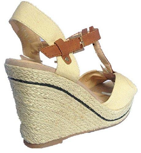 Femmes Sandales talon compensées escarpins bout ouvert femme chaussure 157-61 BEIGE