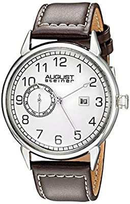 August Steiner Men's AS8182SSBR Silver Multifunction Quartz Watch with White Dial and Brown with White Stitching Leather Strap