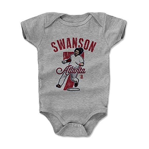 500 LEVEL Dansby Swanson Baby Clothes, Onesie, Creeper, Bodysuit 3-6 Months Heather Gray - Atlanta Baseball Baby Clothes - Dansby Swanson Arch R