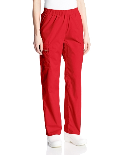 Dickies Women's EDS Signature Scrubs Missy Fit Pull-On Cargo Pant, Red, X-Large (Pants Cargo Red Scrub)