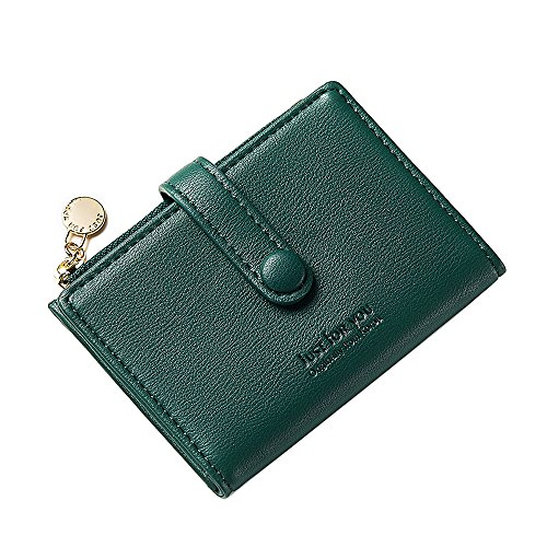 Womens Leather Coin Purse Credit Card Wallet Card Holder with ID Window Small Size(Green) by KESONA (Image #3)
