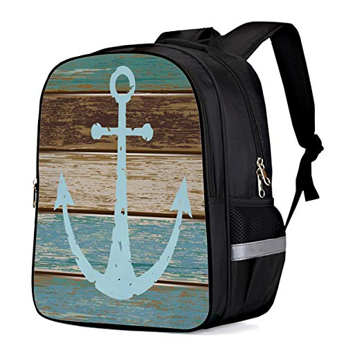 Laptop Backpack Casual Daypacks for Students Blue Nautical Anchor Rustic Old Barn Wood,School Bookbag Lightweight Outdoor Sports Rucksack for Men Women 13'11'6.3