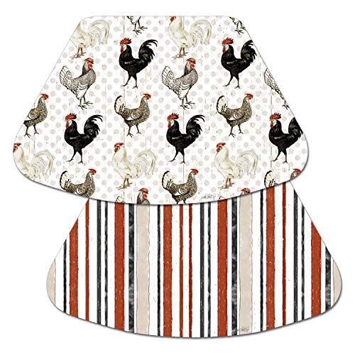 (Counterart Reversible Wedge Placemat - Roosters & Stripes Free Range)