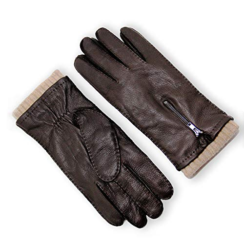 (YISEVEN Men's Wool Lined Deerskin Leather Gloves Handsewn stylish Zipper Long Cuffs Genuine Luxury Hand Warm Fur Heated Lining Winter Dress Driving Motorcycle Work Gifts, Brown 10.5
