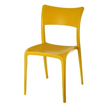 Silla de Comedor Amarilla de Polipropileno Pop para salón ...