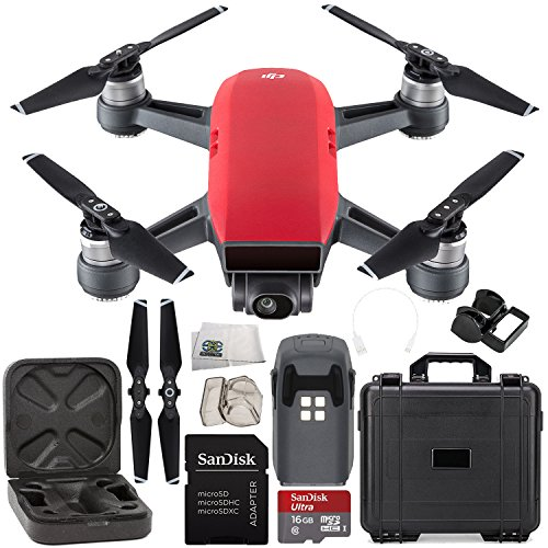 DJI Spark Portable Mini Drone Quadcopter Water Proof Hard Case Starter Bundle (Lava Red)