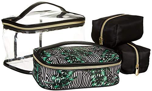 Adrienne Vittadini Striped Palm 4-pc. Train Cosmetic Set One Size Black multi