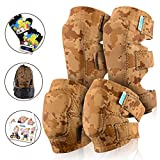 Innovative Soft Kids Knee and Elbow Pads with Bike Gloves | Toddler Protective Gear Set w/Mesh Bag | Comfortable | Skateboard for Children Boys Girls