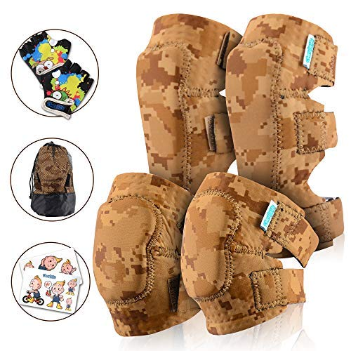 Shin Roller Guards (Innovative Soft Kids Knee and Elbow Pads with Bike Gloves | Toddler Protective Gear Set w/Mesh Bag& Sticker | Comfortable& Flexible | Roller-Skating, Skateboard, Bike Knee Pads for Children Boys Girls)