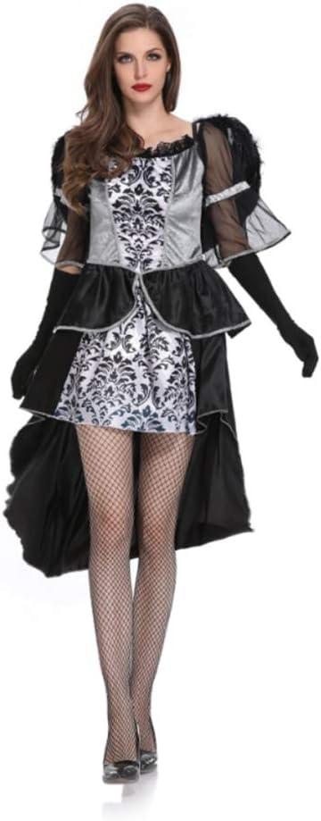 TUWEN Disfraz De Halloween Encaje De Tul Gris De Novia Negro ...