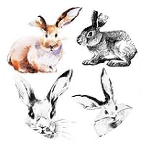 alfombrilla de ratón Conjunto de conejos de Pascua. dibujado a mano acuarela boceto - ronda - 20cm