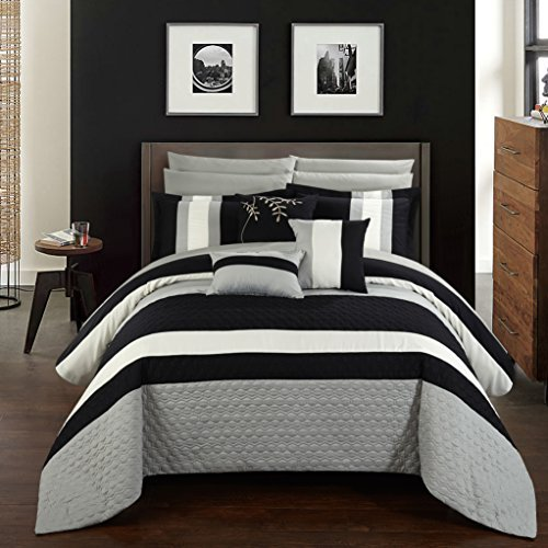 Chic Home 10 Piece Pueblo Complete Bedroom Octagon Embroidery Color Block Pattern. Queen Bed in a Bag Comforter Black with Sheet Set
